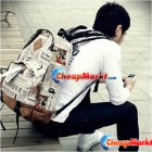 Fashion Men Girl Unisex Newspaper Design Print Backpack Schoolbag Shoulder Bag