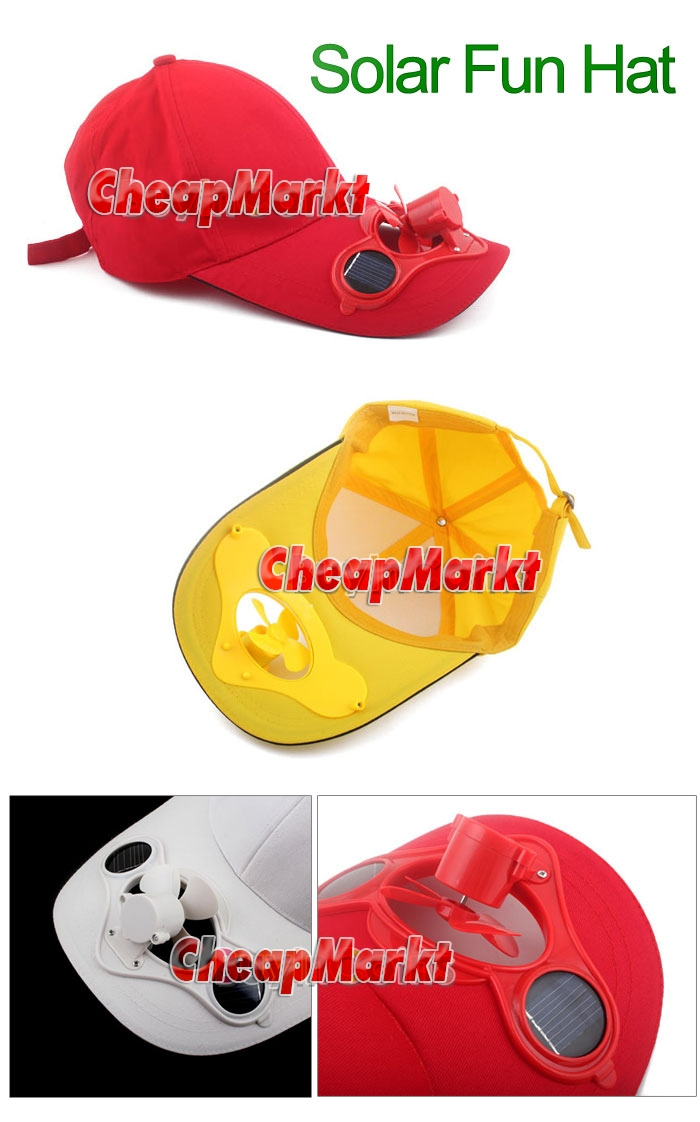 Adult Summer Solar Sun Power Fan Hat Cap Golf Baseball