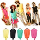 Candy Color Casual Women's Knot Hem Short Sleeve Tops Shirt Blouse