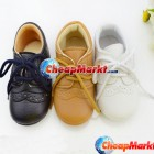 Non-Slip Sole Leather Unisex Baby Kids Toddler Girl Boy Shoelace Slipper Shoes