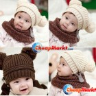 Baby Love Dual Ball Girls Boys Wool Knit Sweater Cap Hat
